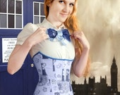 TARDIS Corset- blue underbust corset, steel boned, custom made, Doctor Who inspired