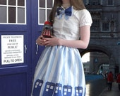 TARDIS Lolita Skirt- Custom designed fabric, custom made, organic cotton, Doctor Who inspired