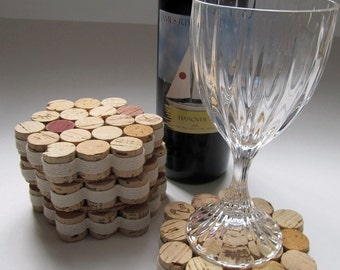 Honeycomb Wine Cork Coasters With Natural Ribbon - Set of Four - Wedding Birthday Christmas Gift  Eco Friendly Home Decor