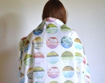 Wild West Traveler Scarf Wrap - Sheer Cotton Landscape Print