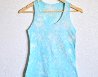 Light Blue Aventurine Quartz Hand Dyed Women's Tank Top