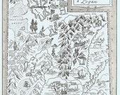 Vintage MAP Utah, Perfect for Framing, Beautifully Illustrated, Adorable, Whimsical, Provo, Salt Lake City, BYU, Ogden, Logan