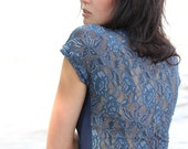 Sheer bohemian lace shirt - navy blue back with v-neck front, ocean vacation travel tunic for women - medium