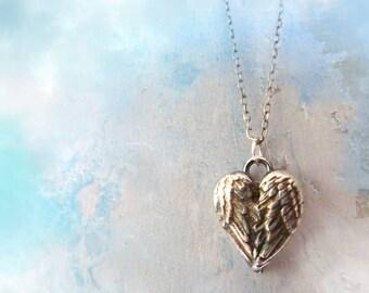 Angel Wings Heart Necklace. Fine Silver Handmade Pendant. Mothers Day Jewelry. Artisan Jewelry