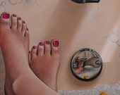 Bathtub oil painting reproduction 8x10 print