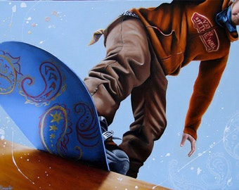 Paisley snowboard winter scene print oil painting reproduction 8x10