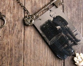Handmade Tintype Assemblage Necklace . Nate the Sailor Boy