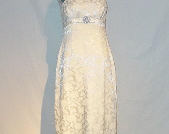 Vintage 1960s An Original Jr. Theme New York Ivory Brocade Wiggle Dress Wedding Prom