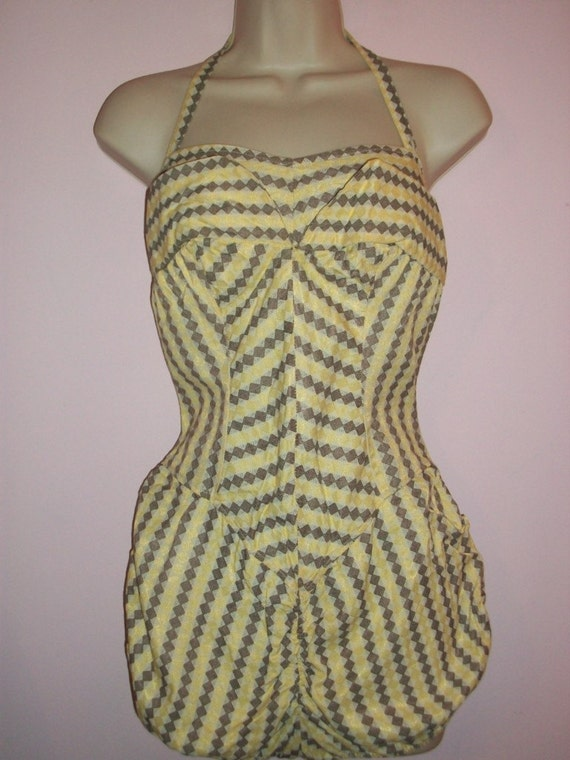 R E S E R V E D for AtomicLady - Vintage 1950s Balloon Swimsuit Rusched Bottom Halter Yellow Swimsuit