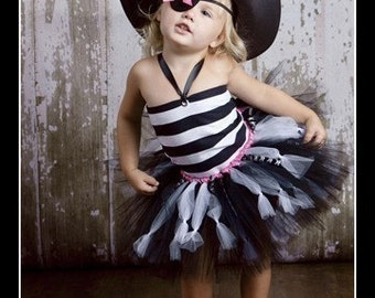 SWASHBUCKLING SWEETHEART Pirate Tutu Set with Reversible Corseted Top, Eyepatch and Hat
