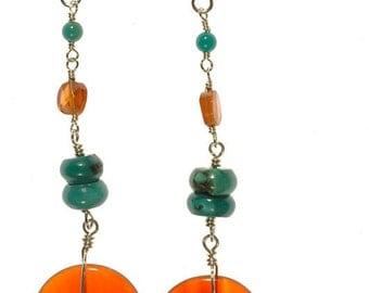 Turquoise, Hessonite Garnet, and Carnelian Earrings
