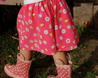 Pink Daisy Corduroy Twirl Skirt