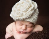 Crochet PATTERN 129, Soft as a Cloud Flower Beanie Hat, All Sizes, Photography Prop