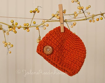 Crochet PATTERN 109, Cross Stitch Newborn Button Beanie Hat, Photography Prop