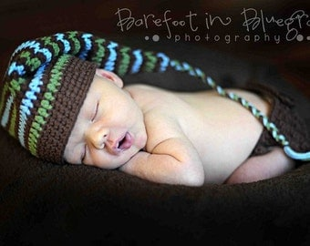 Crochet PATTERN 130, Newborn Stripes Stocking Hat & Maatching Diaper Cover, Photography Prop