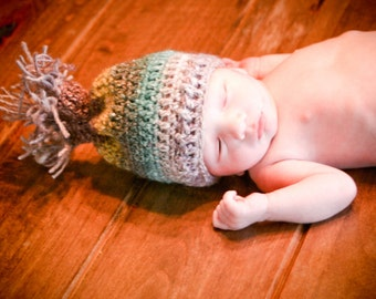 Crochet PATTERN 136, Little Sprout Newborn Beanie with Fringe, Photography Prop