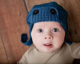 Crochet PATTERN 131, Vintage Inspired Aviator Hat with Chin Strap, Photography Prop, Size 0 - 6 Months
