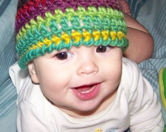 Crochet PATTERN 100, Spaghetti Beanie Hat, Sizes Newborn to Age 5