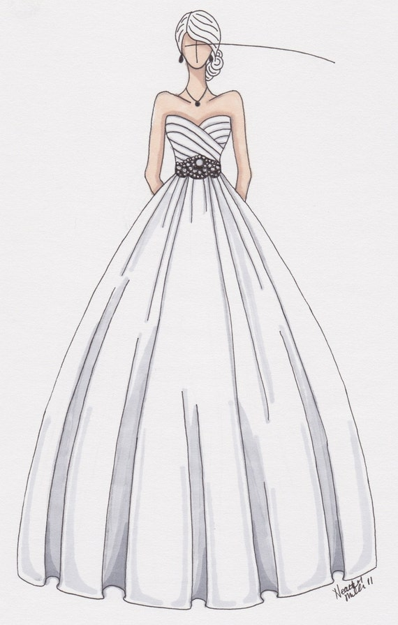 Wedding Dress Sketch By Gownsketch On Etsy