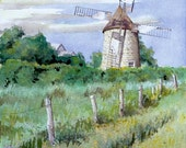 Isle aux Coudres Windmill - Open edition print of an original watercolor (fits 11x14 frame)