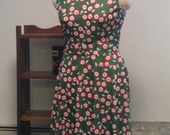 Vintage Green with Daisies Dress & Midriff Jacket by Brief Originals