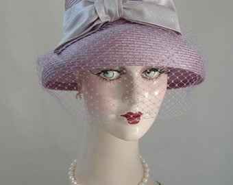 Lavender Straw Hat, Ladies Tea Hat, Elegant Hat