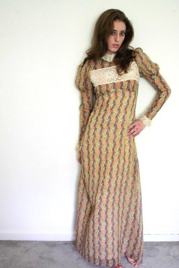 1970s Little House on the Prairie maxi dress