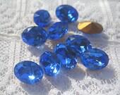 SALE 8x6 mm Swarovski Sapphire Blue Oval Crystal Rhinestone