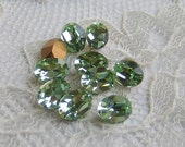 8x6 mm Oval Machine Cut Chrysolite Swarovski Rhinestones