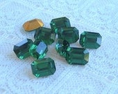 8x6 mm Swarovski Rhinestone Green Turmaline Machine Cut Octagon