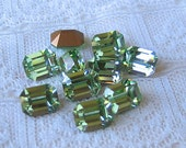 SALE 8x6 Swarovski Rhinestones Chrysolite Octagon Machine Cut