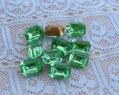 8x6 Peridot Green Octagon Swarovski Rhinestone Glass Jewels