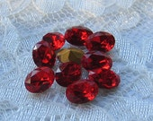 8x6 Swaovski Light Siam Red Oval Glass Vintage Rhinestone