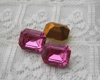 10x8 Swarovski Octagon Loose Vintage Rhinestone Rose Pink