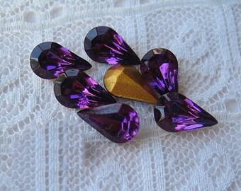 10x6 Vintage Swarovski Purple Amethyst Pear Rhinestone Qty 6