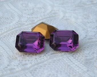 Swarovski 10x8 Purple Amethyst Octagon Rhinestone Glass Jewels