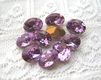 8x6 Swarovski Glass Vintage Rhinestone Light Amethyst Purple Oval