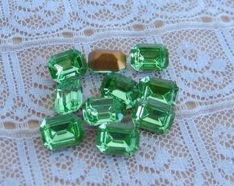 8x6 Peridot Green Octagon Swarovski Rhinestone Glass Jewels Qty 10