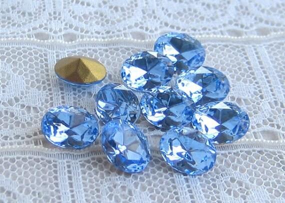 Vintage 8x6 mm Oval Swarovski Rhinestone Light Sapphire Blue Glass Jewels Qty 10