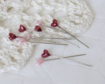 30 Heart Trinket Corsage Pins (Pink and Red) - Scrapbooking Assemblage Embellishments