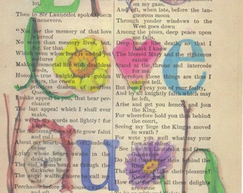 Inspirational Word Art, Live, Love, Laugh Print on Antique Book Page FREE Shipping in US
