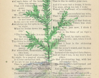 Watercolor of Baby Christmas Tree printed on Antique Book Page/ FREE Shipping in US