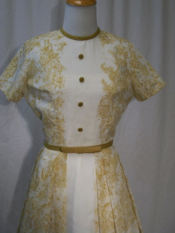 Vintage 50s/60s Jonathan Logan Gold Toile Print Day Dress XS/Small