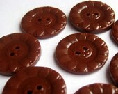 Vintage Buttons Chocolate Brown Plastic Flower Buttons Set of 8 Medium 7/8 inch