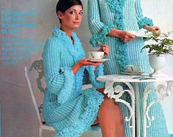 Golden Hands Craft Magazine Part 56, Vol 1 Vintage 70s Womens Crochet patterns Boho Womens Robe Mcrame Hanging Baby Cot Blanket Knitted Cap