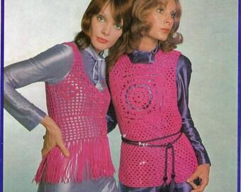 70s Boho Vests & Jackets Pattern Booklet Vintage Crochet Patterns Paton's 973