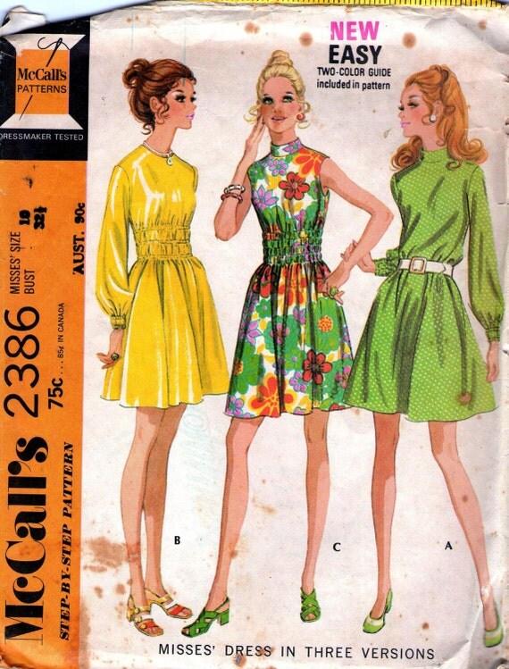 70s Vintage sewing pattern McCalls 2386 Midriff Dress Size 10 Bust 32 1/2