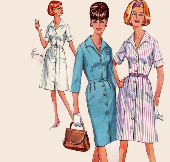 Plus Size 60s Shirtdress Vintage Sewing Pattern Simplicity 5751 Size 40 Bust 42 Inches UNUSED FF