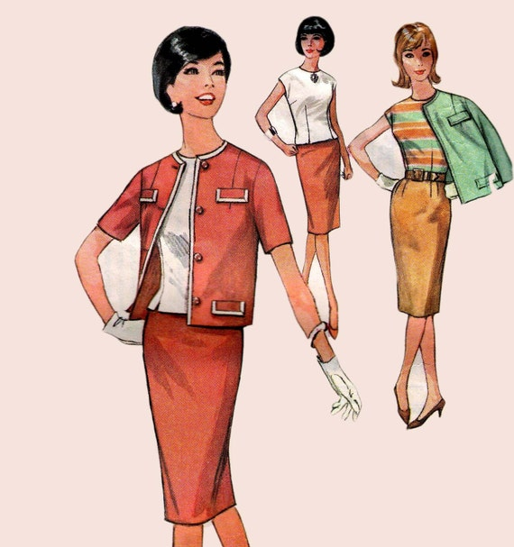 1960s Vintage Sewing Pattern Simplicity 4810 Skirt blouse & Jacket  Size 12  Bust 32