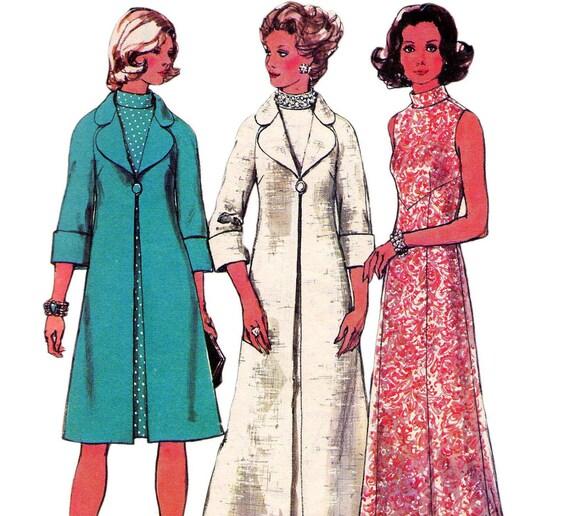 70s Vintage pattern Simplicity 6046 Evening dress & Coat Size 12 Bust 34